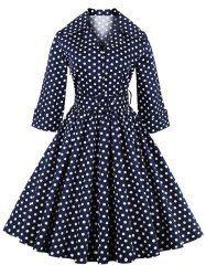 Retro Polka Dot Printed 3/4 Sleeve Flare Dress With Belt (PURPLISH BLUE,3XL) | Sammydress.com Mobile