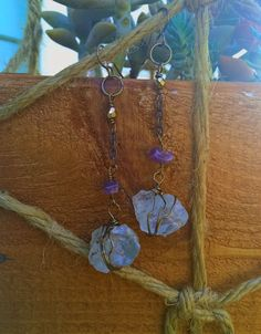 Raw Aquamarine Crystal Earrings with Amethyst by SaracenProvisions on Etsy
