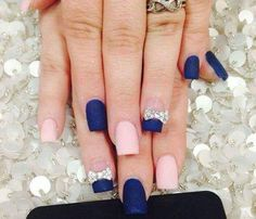 Simplistic Matte Nails in 2 Colors navy blue dusty pink