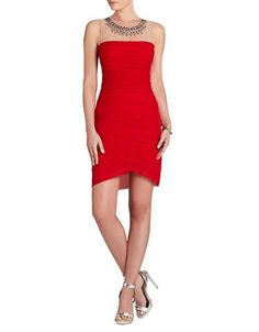Bcbgmaxazria Maia Beaded Illusion Yoke Tiered Dress-Rouge Red