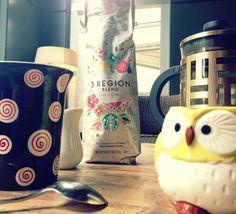 Perfect!! French press of Starbucks, 3 Region!! , owl mug!!