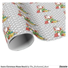 Santa Christmas Name Beach Wrapping Paper. Cute Santa wrapping paper with child's name! Customize this template with your child's name and have it appear all over the paper! Santa is on the beach and ready for a sunny tropical Christmas! Unique Wrapping Paper, Wrapping Paper Design, Gift Wrapping, Christmas Names, Santa Christmas, Tropical Christmas, Beach Wrap, Christmas Wrapping, Unique Gifts