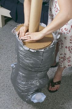"""more """"accurate"""" duct tape dress form w/ stand instructions"""