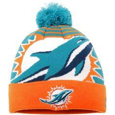 Miami Dolphins New Era Logo Whiz 2 Cuffed Knit Hat with Pom - Aqua/Orange - $15.99
