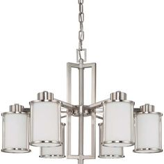 Nuvo Lighting Odeon Chandelier with Convertible Arms Up or Down and White Satin Glass, Brushed Nickel – Home & Living – Home Improvement Ideas and Inspiration Candle Chandelier, Chandelier Ceiling Lights, Chandelier Shades, Room Lights, Hanging Lights, Chandeliers, Pendant Lights, Dining Room Light Fixtures, Dining Room Lighting