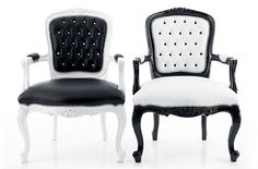 Loving these Louis chairs By designers Josh & Louis . so fresh and modern with the super glossy paintwork and nail head trim. Rococo Furniture, Funky Furniture, Furniture Design, Modern Dining Chairs, Dining Table Chairs, Create Your Own Furniture, Black And White Furniture, Eclectic Modern, Chair Makeover