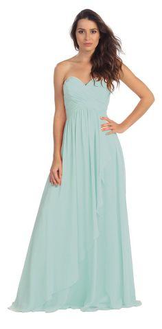 099c2dee63b CLEARANCE - Chiffon A Line Mint Bridesmaid Dress Full Length Strapless (Size  XL)