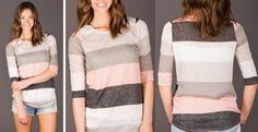 I love all stripes but especially these larger ones. Grays and pale pink.
