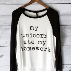 My Unicorn Ate My Homework Long Sleeve Raglan Shirt for Women in... ($21) ❤ liked on Polyvore featuring tops, t-shirts, shirts, silver, women's clothing, raglan baseball tee, long sleeve t shirt, long sleeve tee, black long sleeve t shirt and baseball shirts