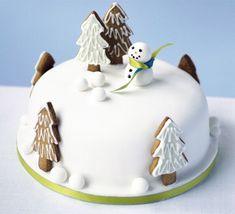 Snowman in the garden cake