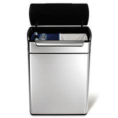 simplehuman® Brushed Stainless Steel Fingerprint-Proof 48-Liter Rectangular Touch Bar Recycler