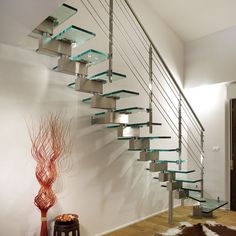 Glass Stairs Ideas Unique and Creative Staircase Designs for Modern Homes Stairs With Glass Panels, Glass Stairs, Stainless Steel Stair Railing, Cozy Studio Apartment, Staircase Design Modern, Stair Paneling, Unique Front Doors, Escalier Design, French Door Curtains
