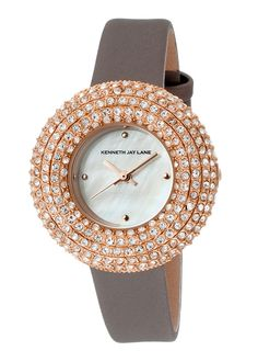 Kenneth Jay Lane 2500 Series Crystal Grey Satin White Mother of Pearl Dial - on #sale 87% off @ #TheWatchery  #KennethJayLane