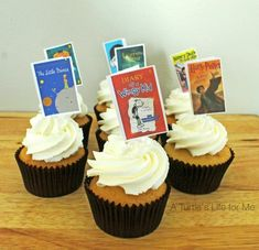 Book cover cupcake toppers- A Turtle's Life for Me