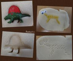 "Dinosaur impressions in play dough from Rachel ("",)"