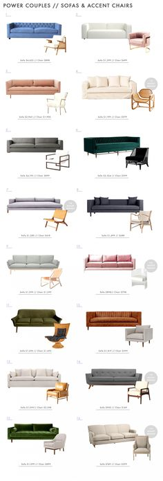 Power Couples: Sofas & Accent Chairs + a few rules - Emily Henderson How to guide for pairing side chairs and sofas Living Room Sofa Design, New Living Room, Living Room Interior, Living Room Chairs, Living Room Designs, Living Room Decor, Decor Room, Interior Livingroom, Sofa Colors
