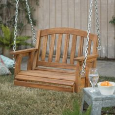 Wooden Garden Swing Single Porch Hanging Chair Outdoor Wood Tree Backyard Patio #CoralCoast