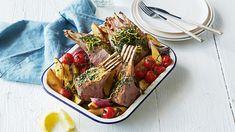 Lamb Rack Recipe, Greek Style Potatoes, Coles Recipe, Lamb Dinner, Rack Of Lamb, Create A Recipe, Lamb Recipes, Roasting Pan, Cherry Tomatoes