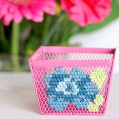 Turn simple and inexpensive office supplies into something unique and stylish. You can cross-stitch just about anything with holes! Cross Stitching, Cross Stitch Embroidery, Diy Cushion Covers, Modern Embroidery, Embroidery Ideas, Crafty Craft, Crafting, Cross Stitch Flowers, Modern Cross Stitch