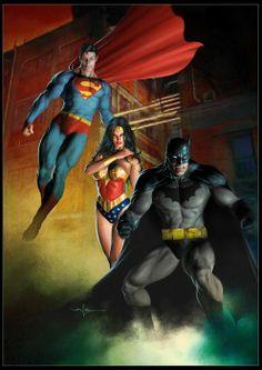 Superman, Wonder Woman, Batman.