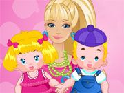 Free Online Girl Games, Barbie is in charge of a pair of baby twins and she needs your help caring for them in Barbie Twins Babysitter!  You'll be in charge of bathing, changing and feeding each baby!  Make sure you work quickly so that the babies don't get upset!, #barbie #twins #babysitter #sitter #baby #girl