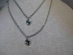 """Silver Tone Sarah Coventry Set of  """"Party Hearts"""" Necklace, 16"""" and 28"""" #SarahCoventry #Charmnecklacenestingindividual"""