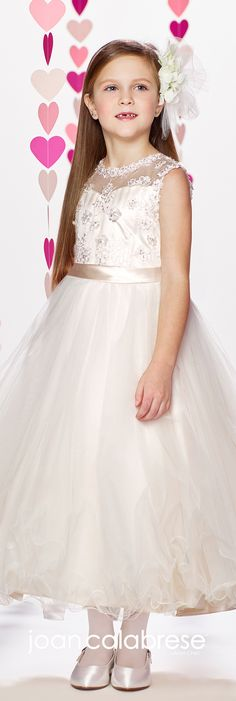 Joan Calabrese for Mon Cheri - Fall 2017 - Style No. 217372 - sleeveless satin and tulle tea-length flower girl dress with floral embroidered bodice