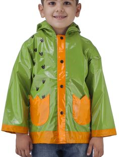 Little Boy's Dinosaurs Green Raincoat - Size 6. ★ WATERPROOF - The thin but durable rain coat is strong and resistant to water and humidity. Excellent good protector for children outdoor in rainy days, includes a hood for extra protection. ★ SIMPLE SNAP CLOSURE - Convenient snap closures with brightly colored snaps are easy to spot, fasten and unfasten, so kids can quickly and easily change in and out of their rain coat on their own. ★ Easy-Clean Materials - To clean - simply wipe down…