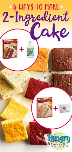 Easy Low-Calorie Cake Recipes from Hungry Girl Low Calorie Cake, Low Calorie Desserts, Ww Desserts, No Calorie Foods, Low Calorie Baking, Low Calorie Diet, Weight Watcher Desserts, Weight Watchers Cake, Two Ingredient Cakes