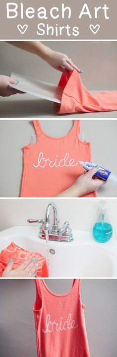 Use a Clorox Bleach Pen to make your own shirt designs..... Why didn't I think of this?! Ugh