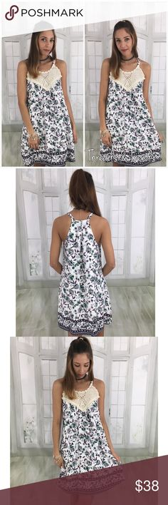 Floral Spring Dress Beautiful tank dress featuring a green & purple floral pattern. Crochet lace chest area with two straps. Very nice high end quality. This dress is fully lined and 100% polyester   Measurements:  Small Bust 36 Length 36.5  Medium  Bust 40 Length 37  Large  Bust 44 Length 38 Dresses