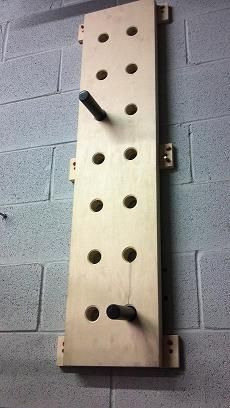 Anytime you need to be humbled, take a shot at this. I have a custom one in my garage. It constantly reminds how far I have to go, but more importantly how far I have come. Climbing Peg Boards are fun.