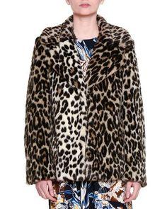 B3A8E Stella McCartney Fur-Free-Fur Leopard-Print Chubby Coat