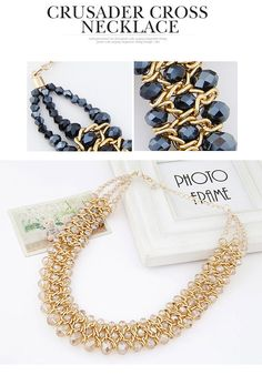 Fingerprin Champagne Gold Beads Decorated Weave Design Alloy Fashion Necklaces  http://www.asujewelry.com
