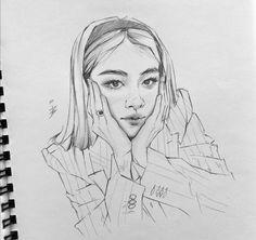 Anime Drawings Sketches, Art Drawings, Fanart Kpop, Art Deco Paintings, Exo Fan Art, Kpop Drawings, Art Station, Daily Drawing, Art Reference Poses