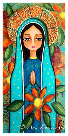 Colorful cartoon image that evokes Our Lady of Guadalupe.