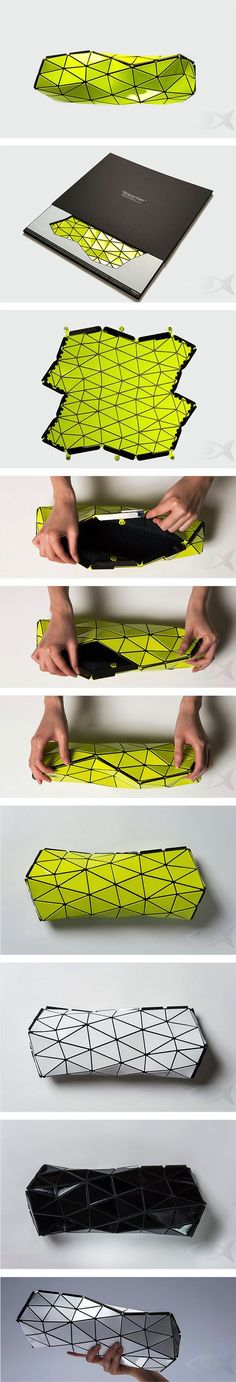 BaoBao hand bag by Issey Miyaké. Innovative folding origami-inspired clutch purse. Neat! 2D to 3D. Multi-dimensional.