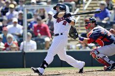 Mar 13, 2014; Fort Myers, FL, USA; Minnesota Twins second baseman Brian Dozier (2) at bat against the Boston Red Sox at Hammond Stadium. Mandatory Credit: Steve Mitchell-USA TODAY Sports