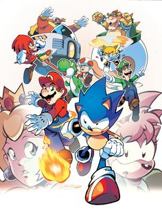 Console Wars (Coloring Commission) by on DeviantArt Super Smash Bros, Super Mario Bros, Sonic The Hedgehog, Super Mario Games, Mundo Dos Games, Ninja Turtles Art, Sonic Fan Art, Cartoon Crossovers, Mario And Luigi