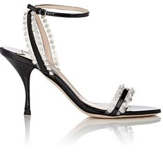 Miu Miu Women's Embellished Ankle-Strap Sandals ($790) ❤ liked on Polyvore featuring shoes, sandals, black, black shoes, black high heel sandals, open toe sandals, miu miu sandals and black sandals