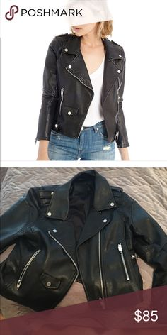 Blank NYC jacket A black, vegan leather moto jacket by BlankNYC. This wardrobe staple features silver hardware, zippers and pockets. Retail 100$ from Nordstrom. New, never worn but I took the tags off! It was too big and I never had time to return it to Nordstrom Blank NYC Jackets & Coats