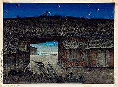 """""""Karatsu"""" (Ruins of a Rice Barn), Hasui Kawase (1883-1957). — at LACMA Los Angeles County Museum of Art."""