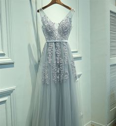 Abendkleider - Elegant Lang Spitze Tüll A-Linie Abend Ballkleid - ein Designerstück von YYYang bei DaWanda
