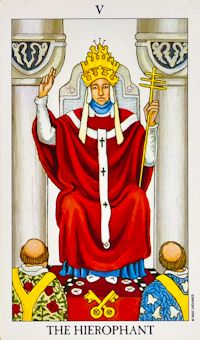 Your Tarot card is the Hierophant. Some card meanings:  Religion, group identification, conformity, tradition, beliefs, standard rules, conventional marriage, restriction, the status quo, or challenging it.