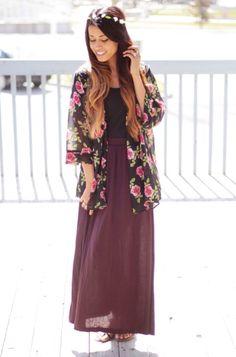 Maxi skirt with kimono