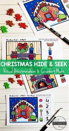 FREE Christmas Hide and Seek Mats - These free printable, reusable mats are a fun way for kids to practice finding Christmas items and counting during December. Such a fun activity for toddler, preschool, and kindergarten age kids. #christmaslearning #christamasfun #toddler #preschool #kindergarten #123homeschool4me
