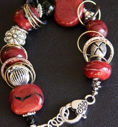 Holiday Magic, red borosilicate bead bracelet, #110