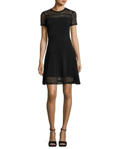 Short-Sleeve Mesh-Combo Dress