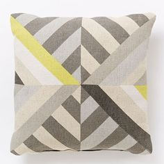 Triangle Stripes Indoor/Outdoor Pillow - Frost Gray   west elm
