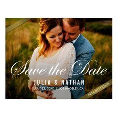 #Elegant Photo Save the Date Postcard - #savethedate #wedding #love #card #cards #invite #invitation